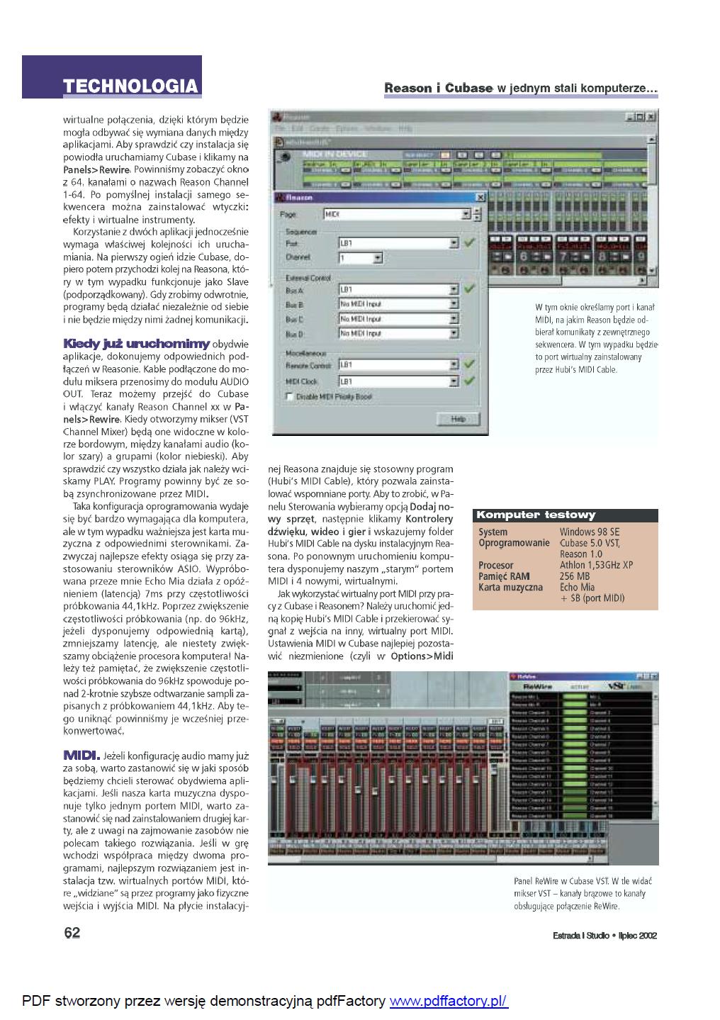 2002 07 ReWire - Reason i Cubase w jednym stali komputerze (2)